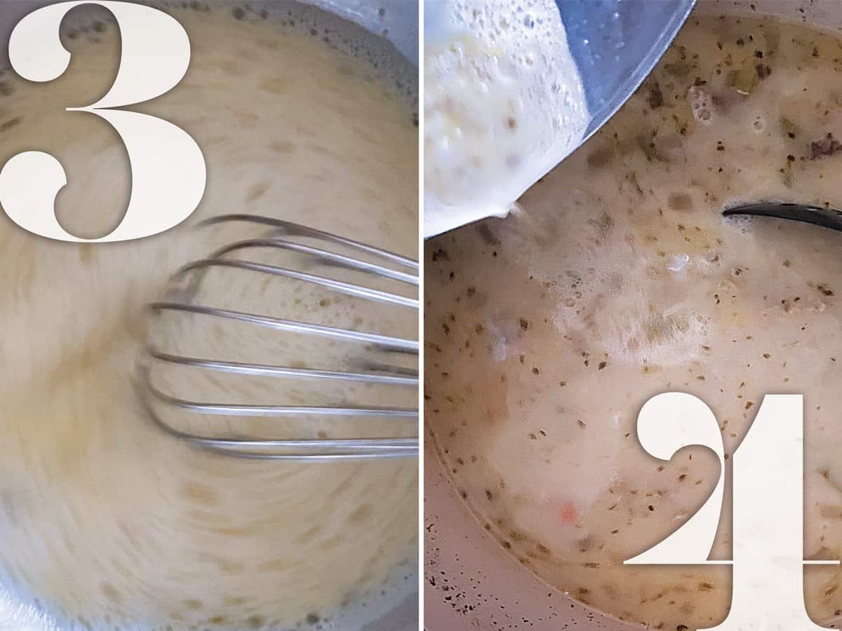 Making avgolemono-egg and lemon sauce