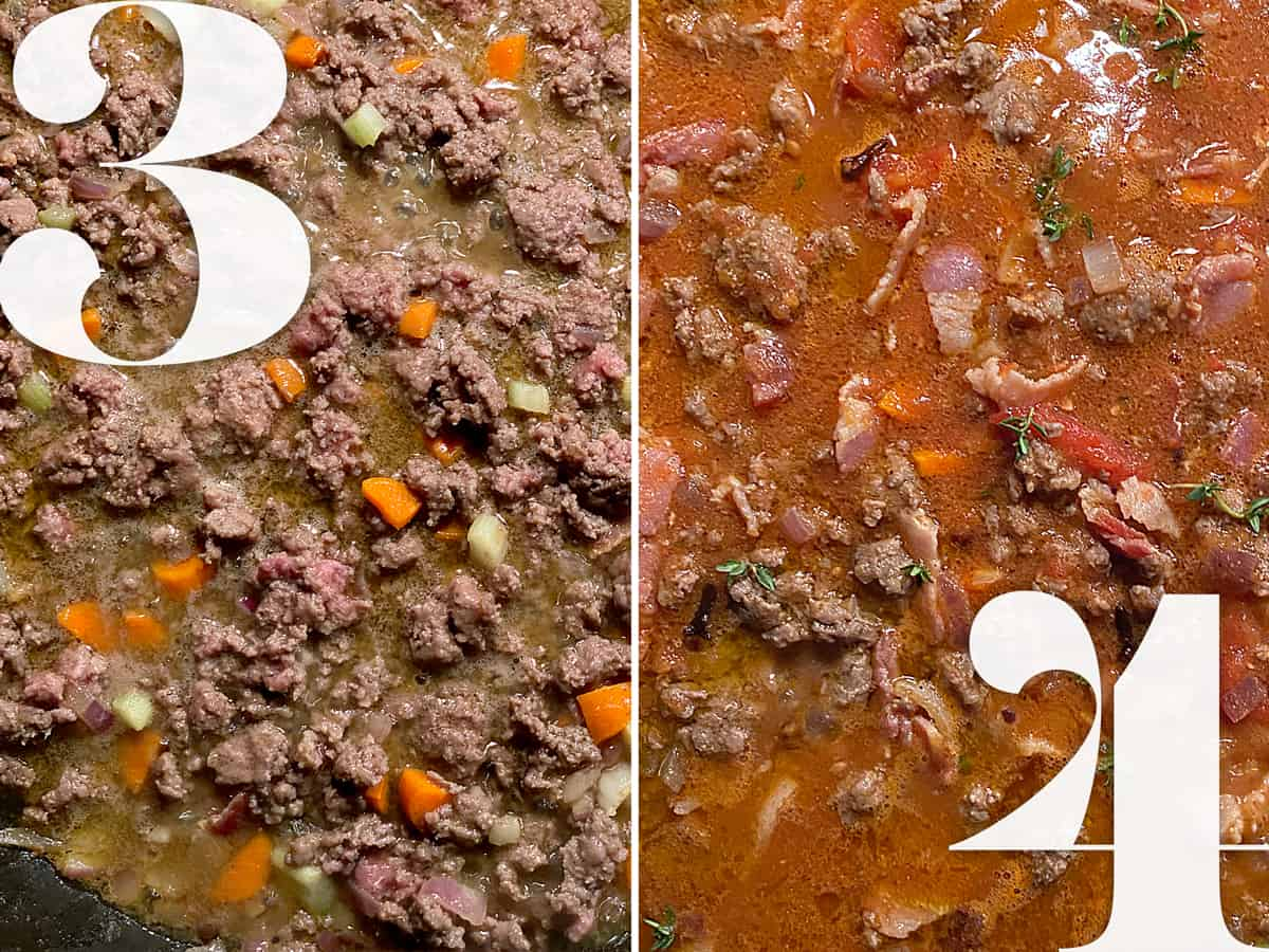 Left , ground beef browning with diced vegetables. Right, tomato sauce and ground beef cooking.
