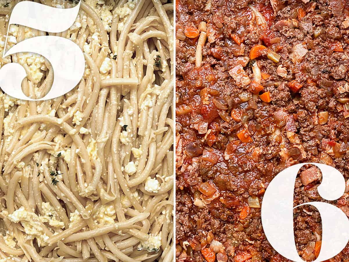 Left, pasta arranged in a baking pan with cheese sauce. Right, beef ragu arranged in a pan.