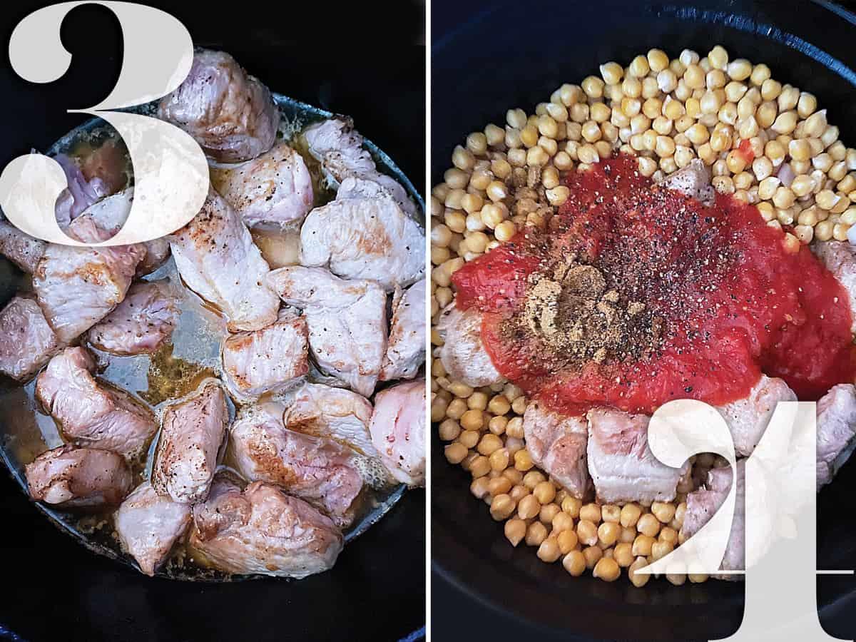 Pork stew meat preparation in a black pot.