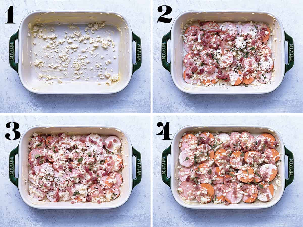 Four images. One, a buttered pan. Two, the pan with a layer potatoes and egg, cheese, herbs, prosciutto mix. Three, similar layer as two. Four, final layer of potatoes, cheese, egg and prosciutto.