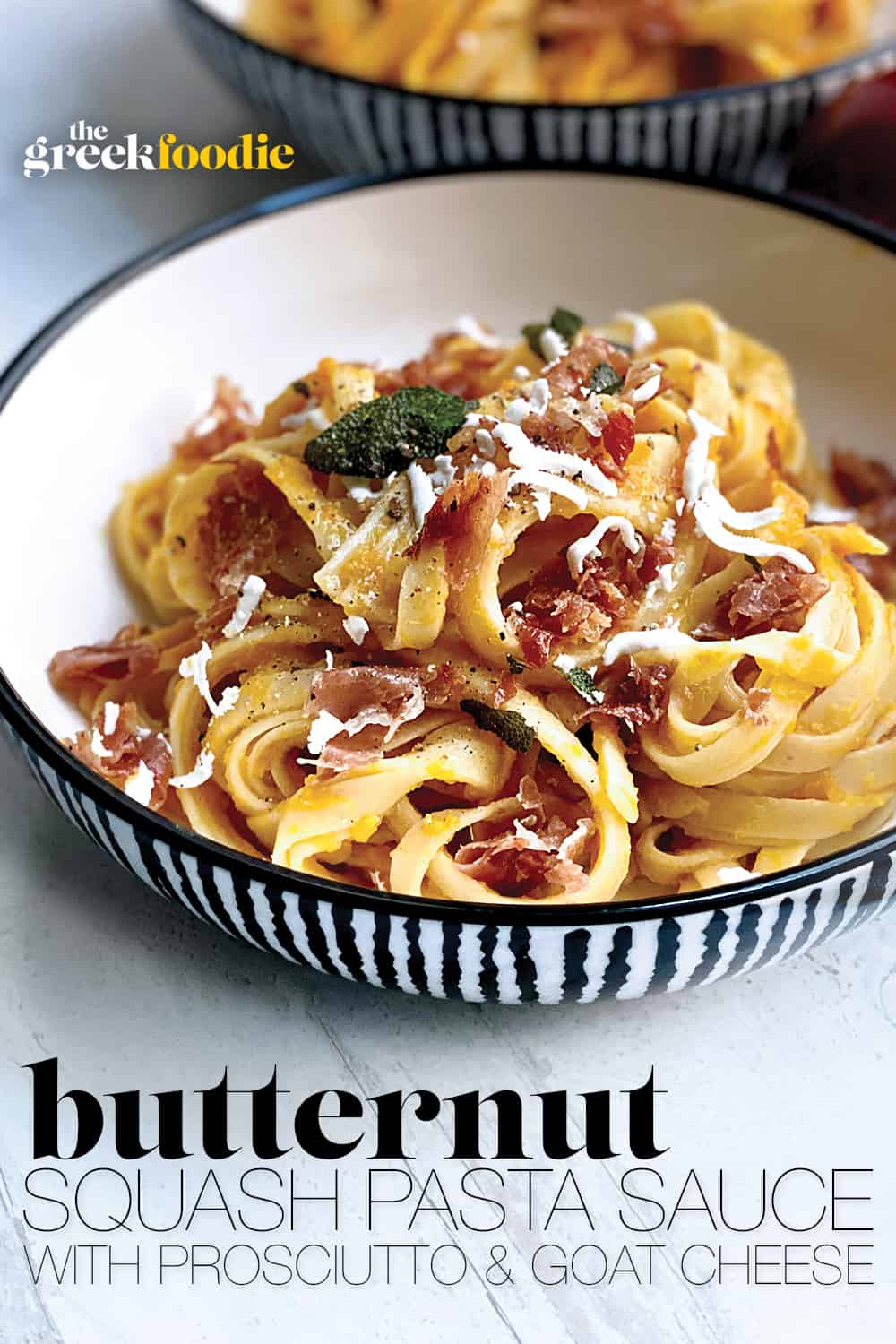 Butternut Squash Pasta Sauce with Prosciutto and Goat cheese