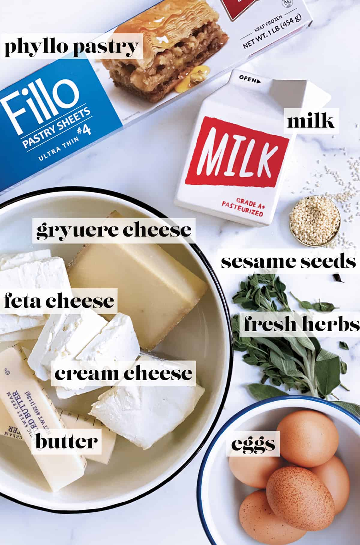 A packet of phyllo pastry, fresh herbs, a bowl with eggs, sesame seeds, a bowl with feta, gruyere, cream cheese, butter, and a carton of milk.