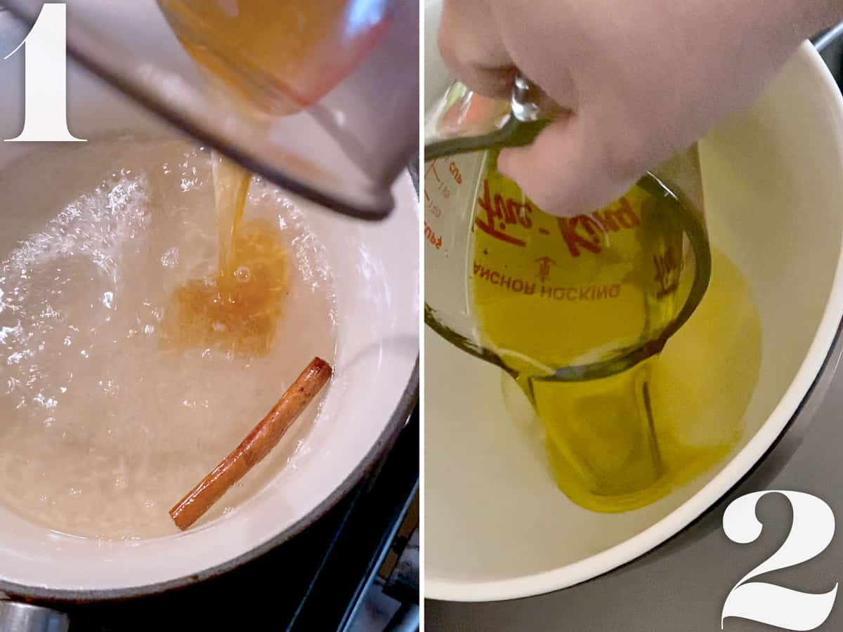 Making syrup and beating ingredients in a mixer to make greek cookies.