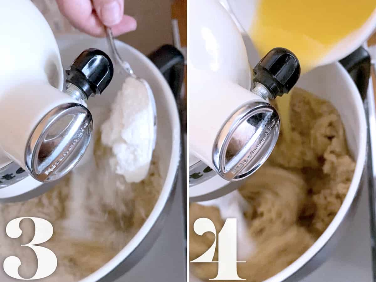 Beating ingredients in a mixer to make cookies.