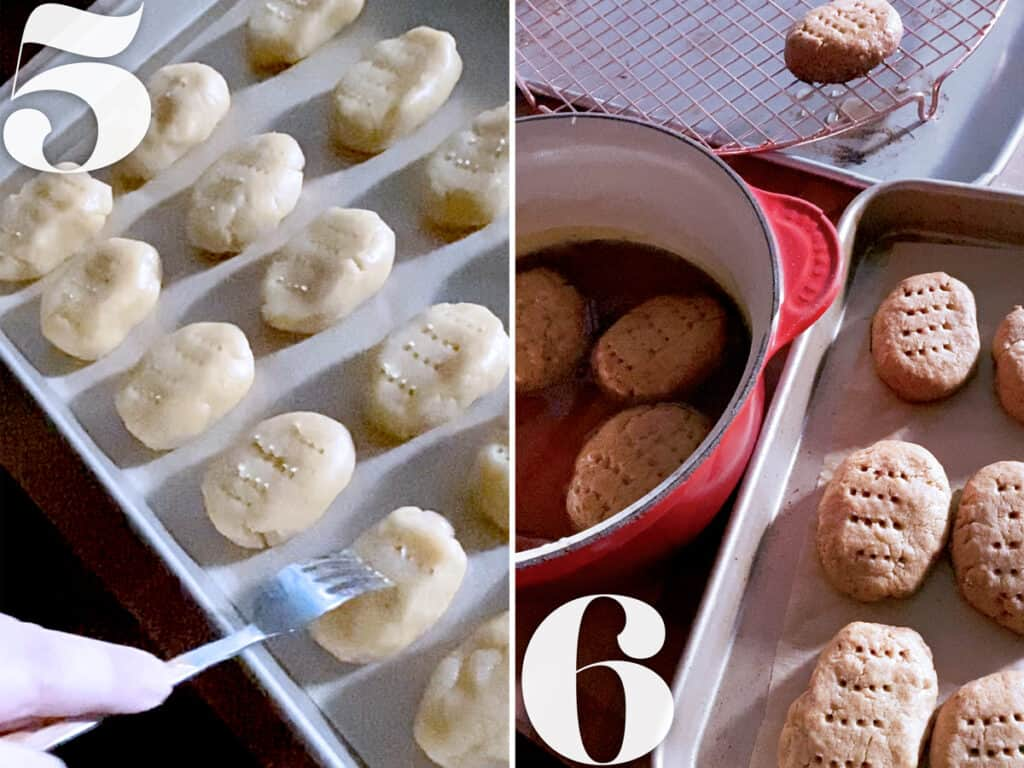 Creating a texture on Greek honey cookies. Immersing cookies in syrup and letting them drain.
