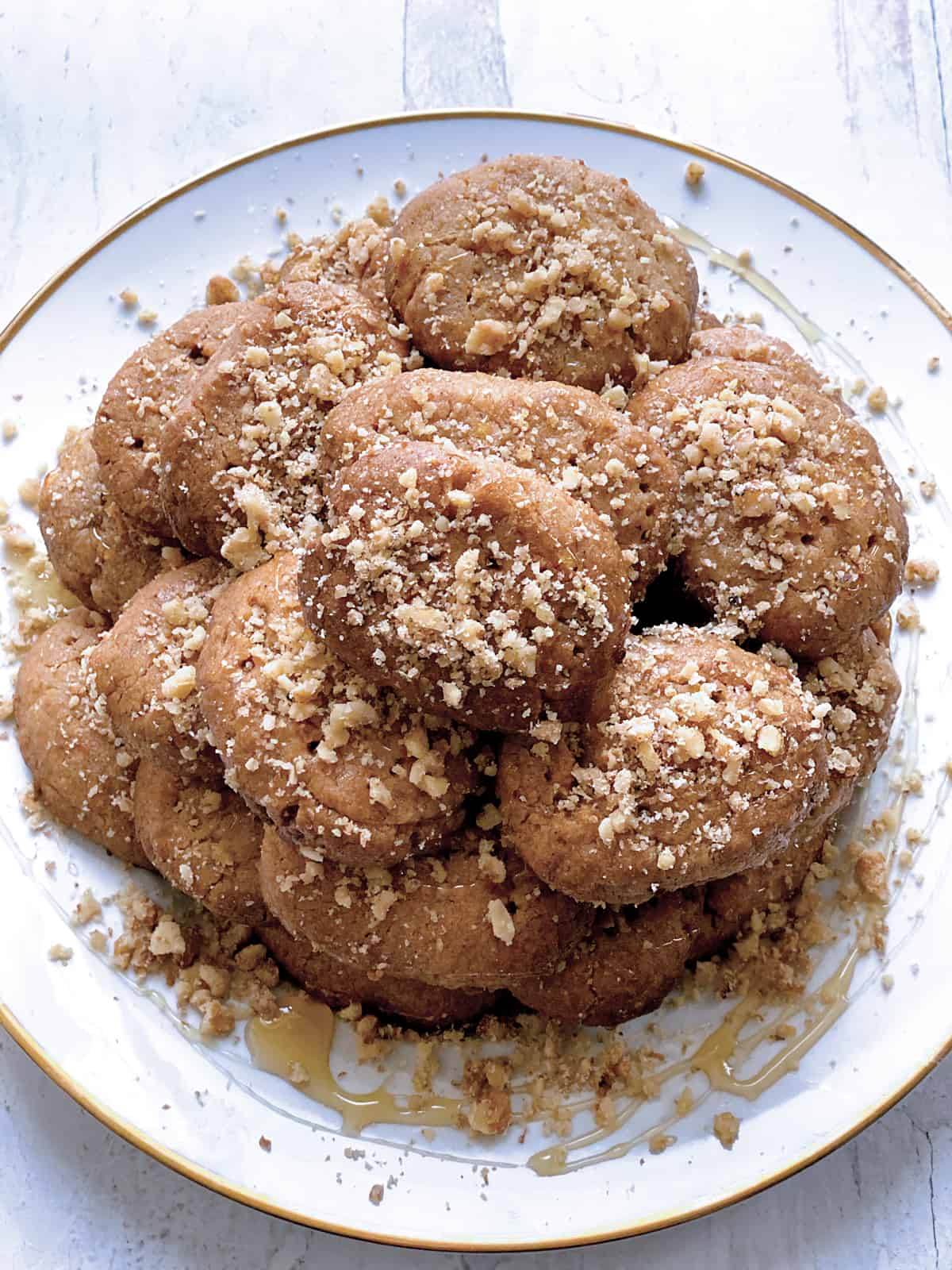 A plate with melomakarona cookies.