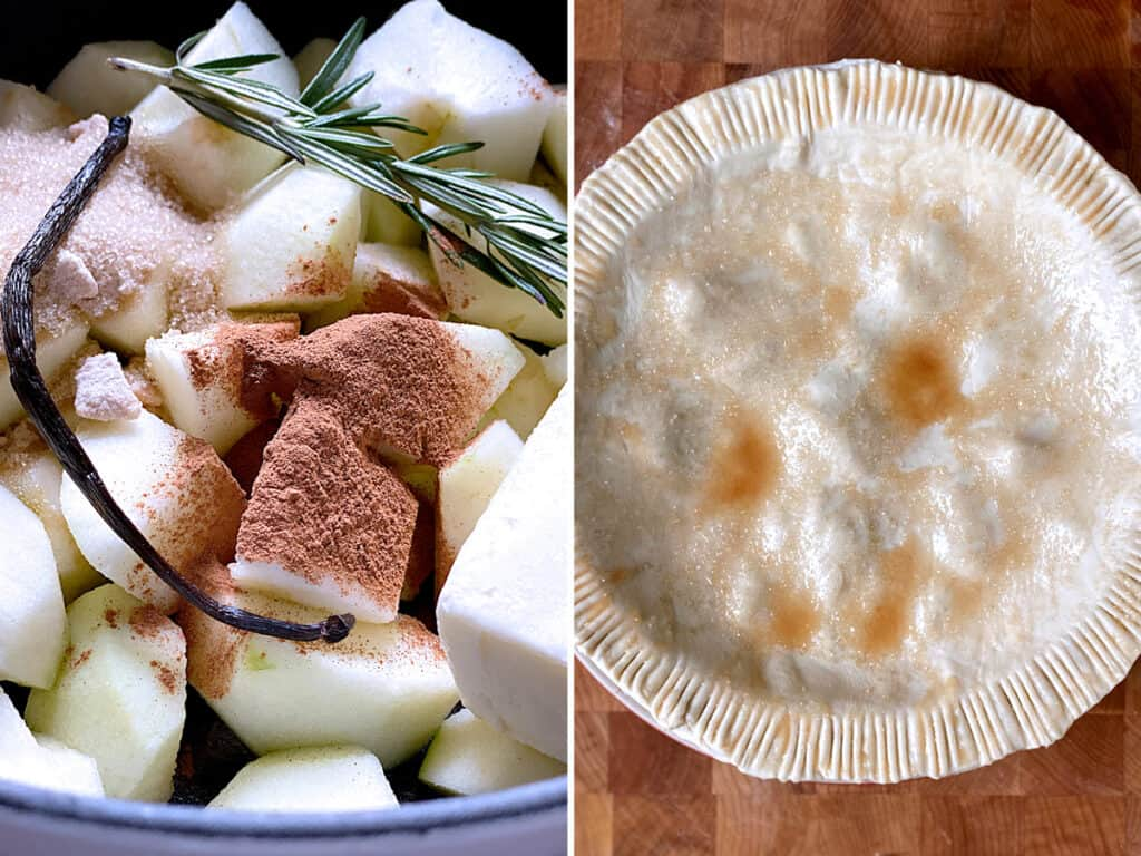 left, ingredients for apple pie filling in a pot. Right, an uncooked puff pastry apple pie in a tart pan on a cutting bard.