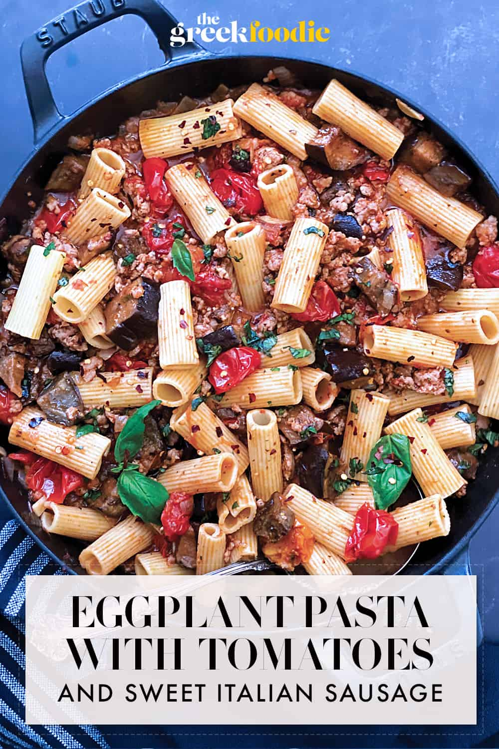 Eggplant pasta with Tomatoes and Sweet Italian Sausage