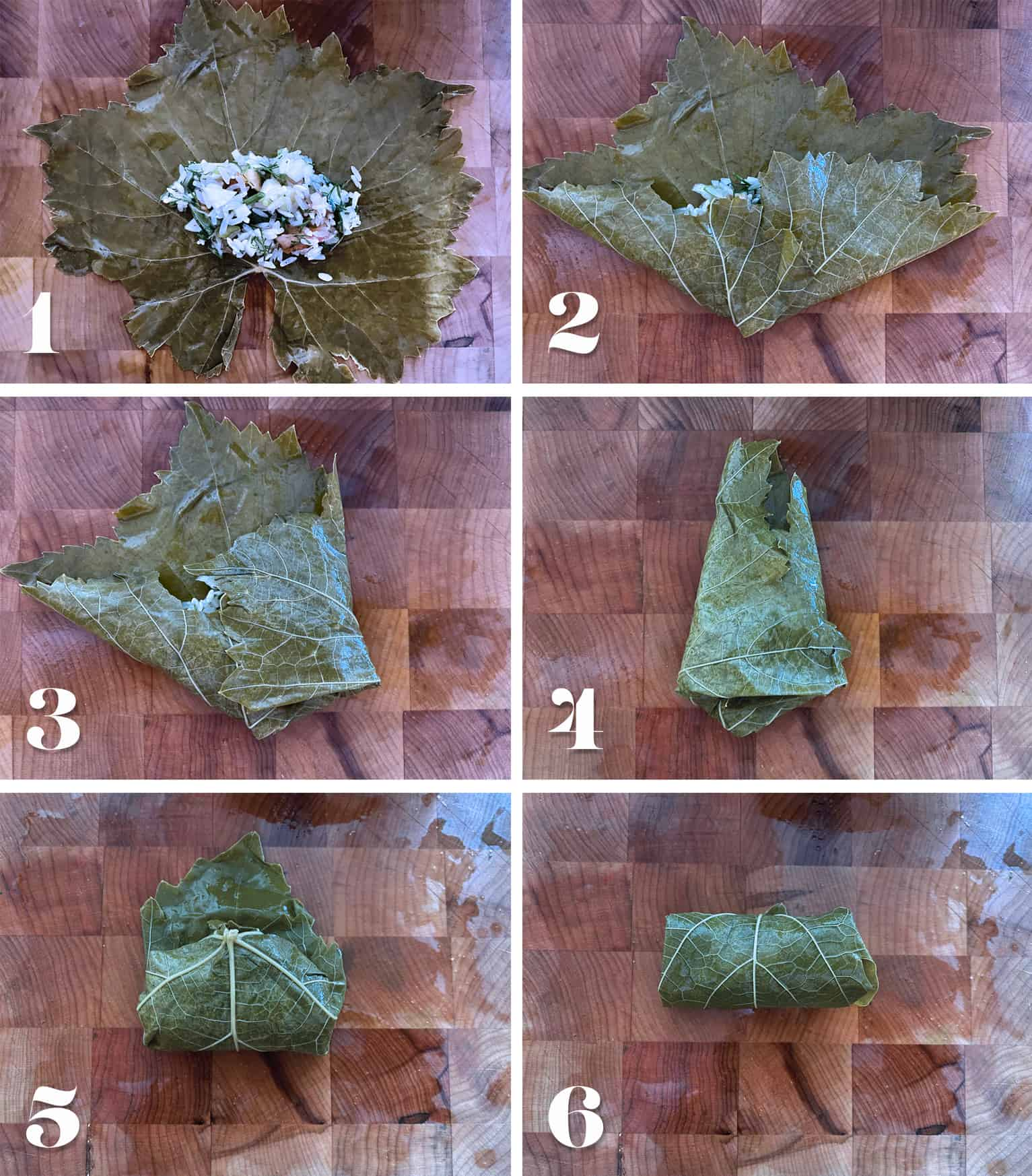 Numbered process on how to fold a stuffed grape leaf.