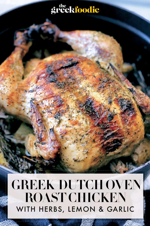 Greek Dutch Oven Roast Chicken