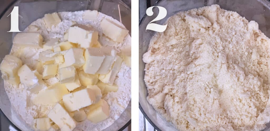 Image 1. Pieces of butter and flour in a food processor. Image 2. Processed butter and flour in a food processor.
