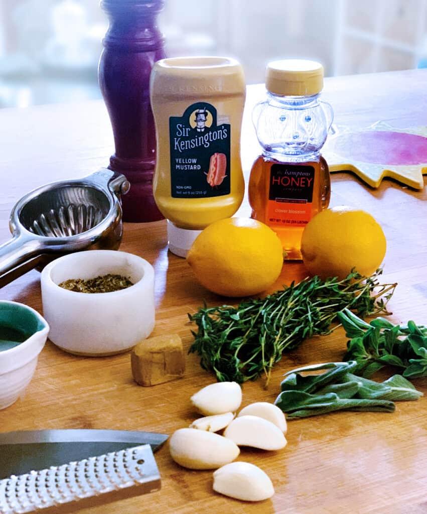 Marinade ingredients for Greek lemon chicken.