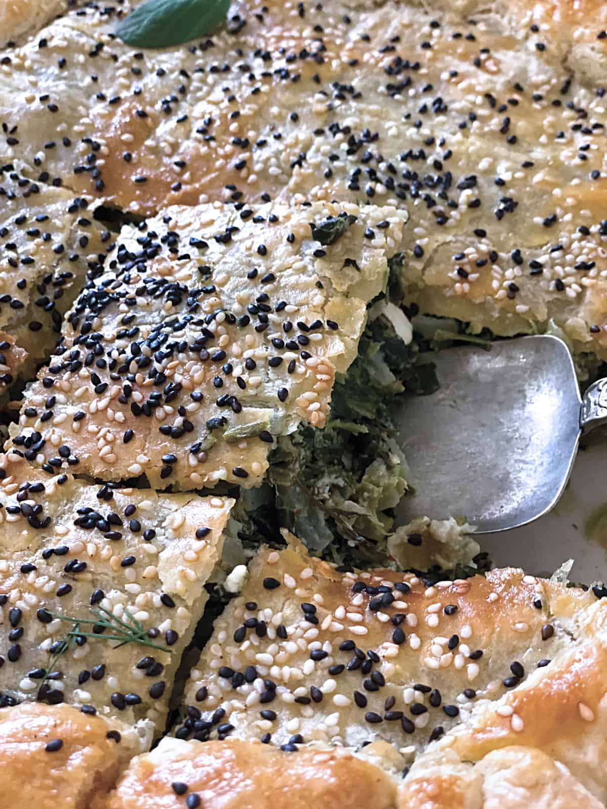 Greek Savory Pie in pieces and a serving stencil.