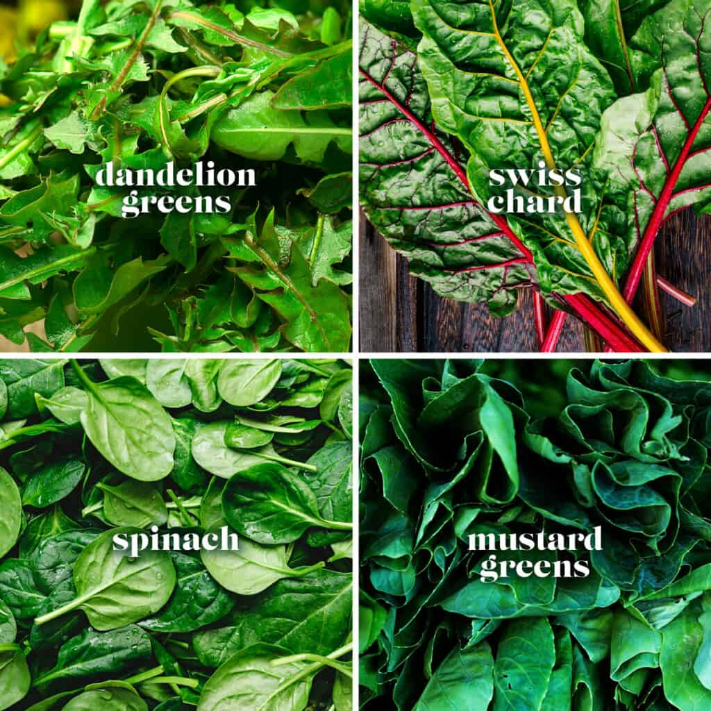 Four images collage. Spinach, Swiss chard, dandelion greens and mustard greens.
