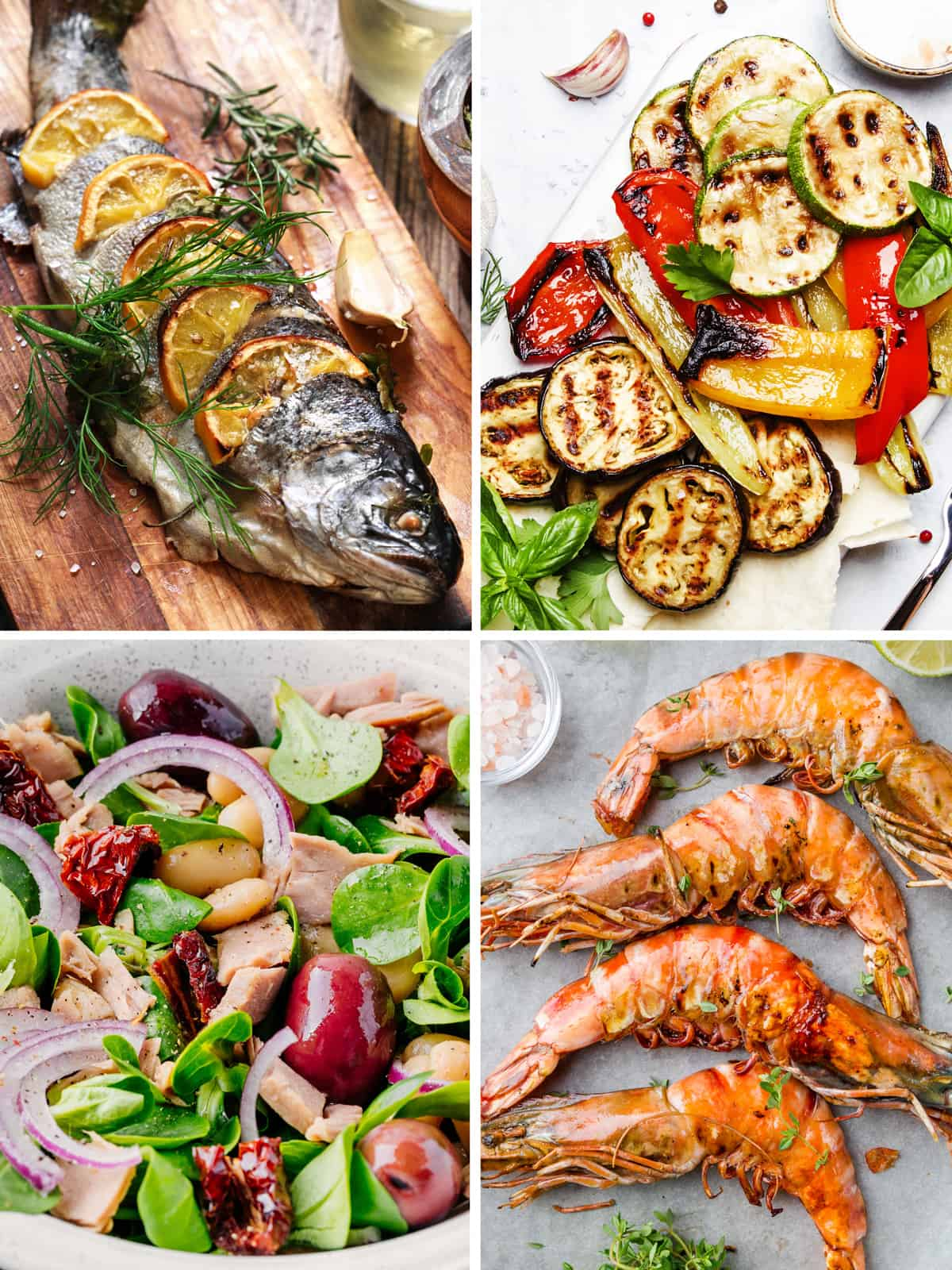 Four images. A whole grilled fish on a wooden board with herbs. Grilled vegetables on a white plate. A bean salad with tuna and olives. Three big grilled shrimp and a bowl with salt.