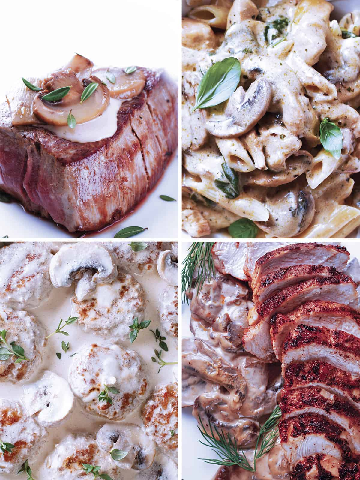 Top left: A steak with a mushroom, cream sauce and some thyme leaves on a plate. top right: Close up of penne pasta with cream sauce and herbs. Bottom left: Meatballs in creamy sauce. Bottom right: Grilled chicken and mushroom sauce.