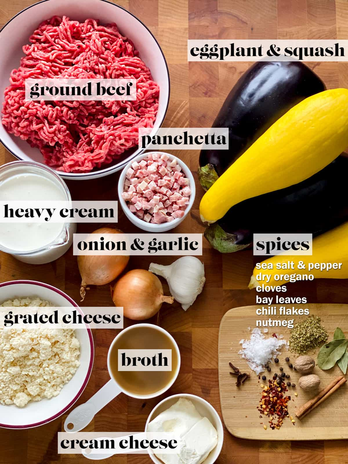 Ingredients for keto moussaka. Ground beef, eggplants, yellow squash, a bowl with cubed pancetta, a bowl with heavy cream, a bowl with cheese, a cup of broth, a cup of cream cheese and a small cutting board with spices, all on a butcher block.