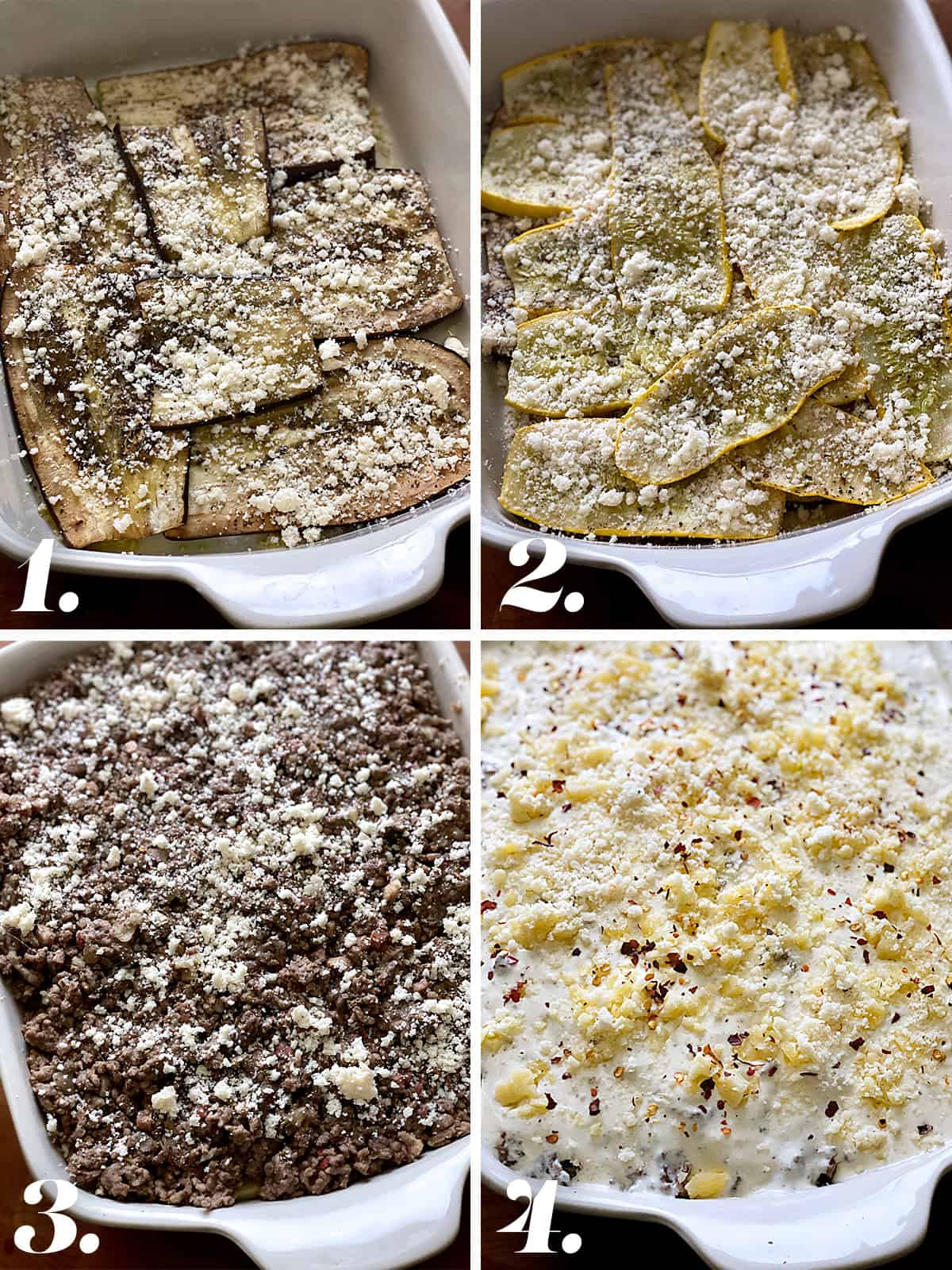 Four images. Top left a white baking pan with layered eggplant slices and grated cheese. Top right, a white baking pan with layers yellow squash and grated cheese. Bottom left, the baking pan with meat sauce and grated cheese. Bottom right, the pan with keto cheese sauce and grated cheese.