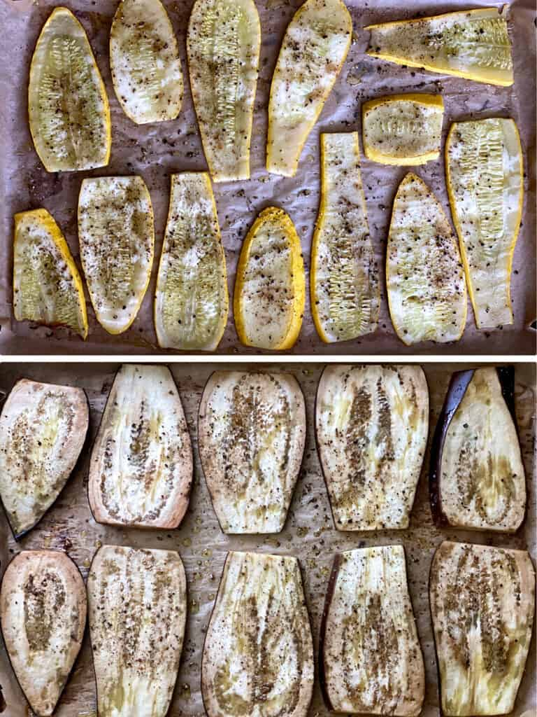Two baking sheets, lined with parchment paper. Top sheet has slices of roasted yellow squash, bottom sheet has slices of roasted eggplant.