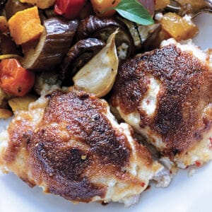 Two pieces of parmesan crusted chicken with mayo and grilled vegetables on a white plate.