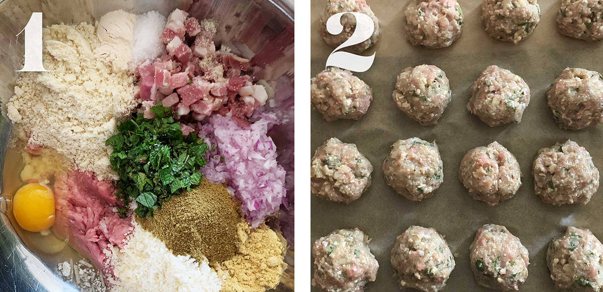 Left: Grated cheese, an egg  pancetta cubes, chopped mint, chopped onion, garlic powder, mustard powder in a bowl. Right, meatballs on parchment paper.