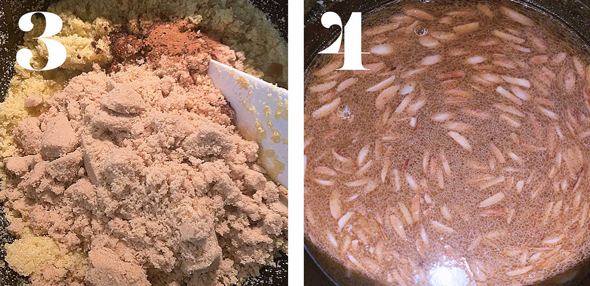 Process shots. Semolina cake with sugar, cinnamon almonds and water being cooked.