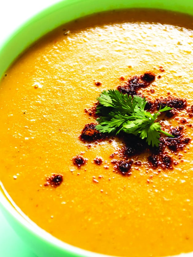 A bowl with middle eastern lentil soup.