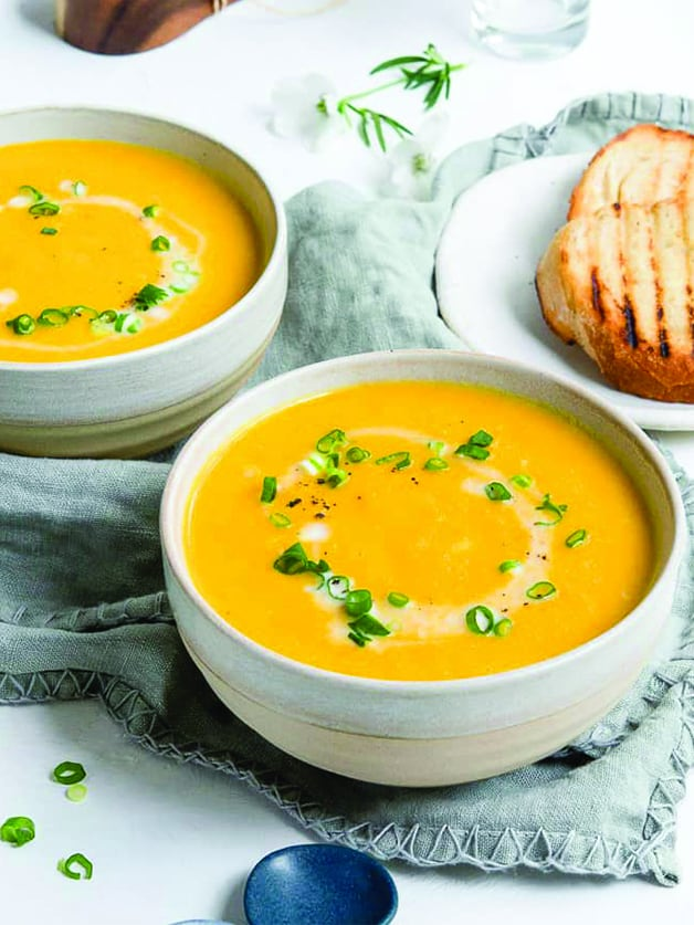A bowl with carrot soup.