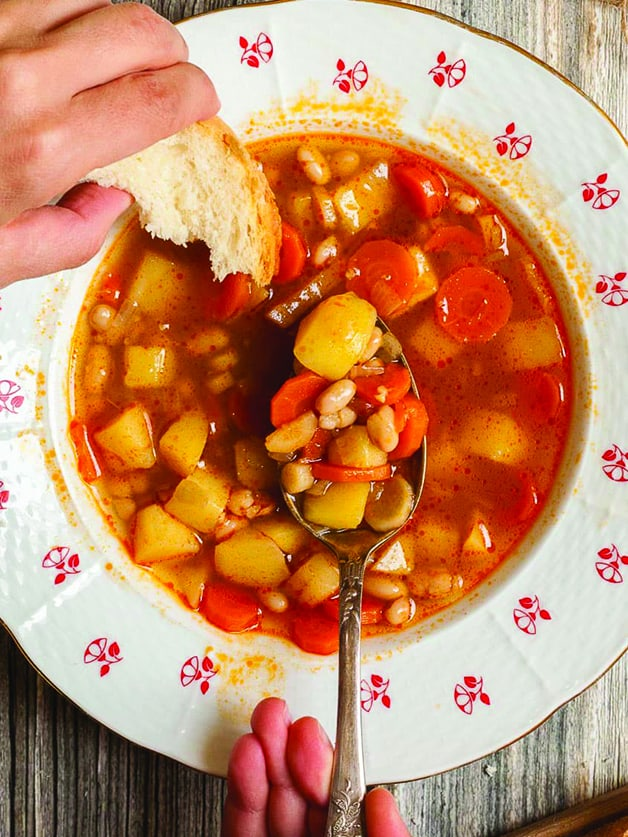 A bowl with vegetarian goulash.