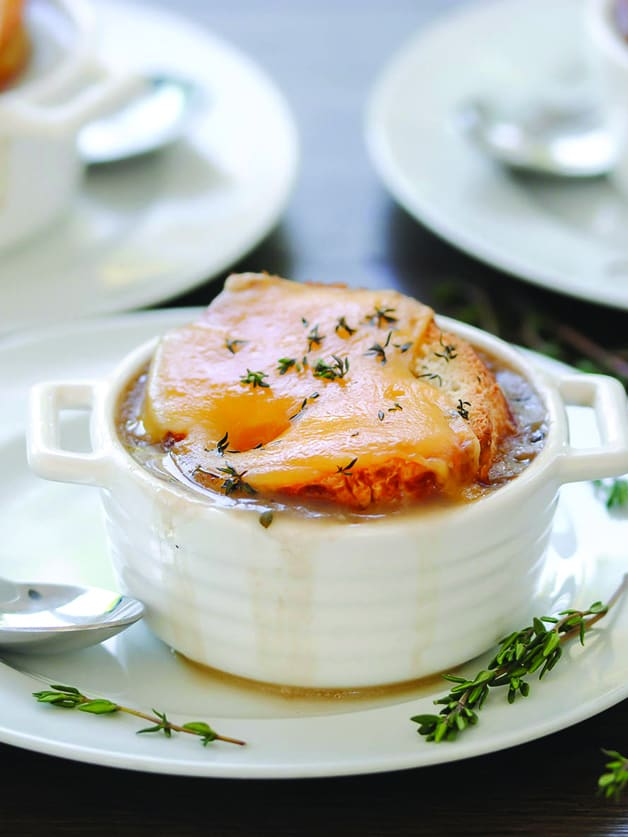 A bowl with onion soup.