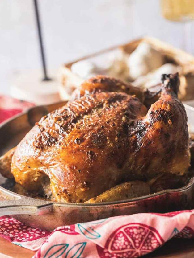 A whole roasted chicken.