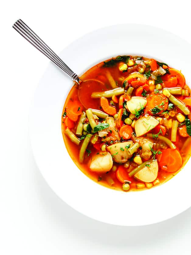 A bowl with vegetable soup.